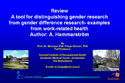 """Review. A tool for distinguishing gender research from gender difference research-examples from work-related health """